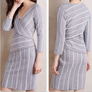 Anthropologie Maeve blue striped fitted dress